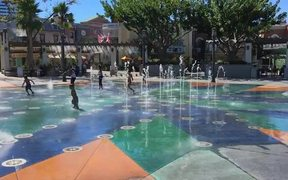Kids Playing in Water Fountain Slow-motion