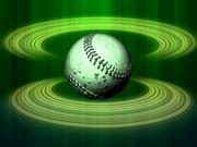 Spinning Baseball Green Halos Close Up