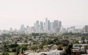 Panning View of Los Angeles with a Smoggy Sky