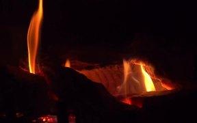 Fireplace Close Up - Slow Motion