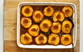 Roasted Peaches with Honey and Rosemary